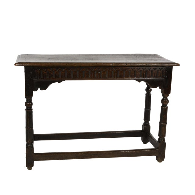 17th Century Joined Oak Side Table, Box Stretchers, Turned Oak Legs, English Circa 1680 For Sale - Image 10 of 10