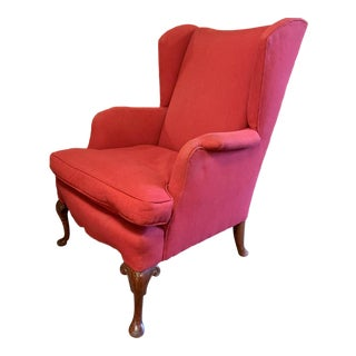 Wingback Chair in Red For Sale