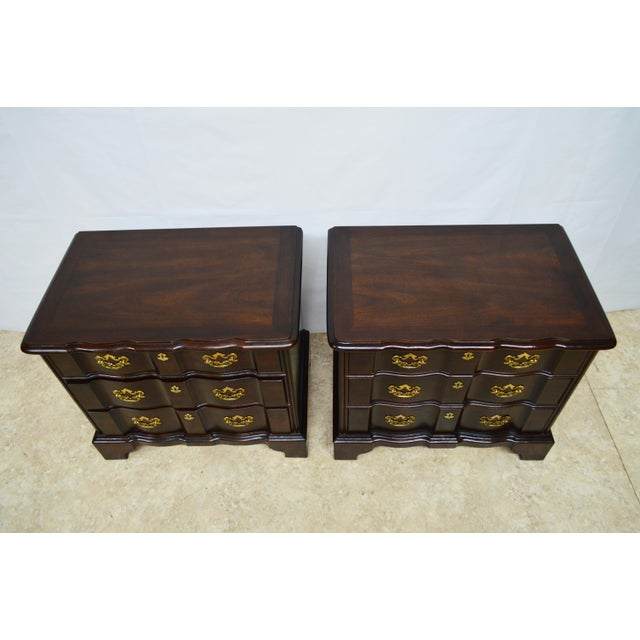 Henredon Solid Mahogany Chippendale Nightstands-a Pair For Sale - Image 12 of 13