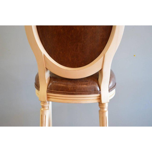 2010s Louis XVI Style Painted Oval Back Bar Stool for Custom Order For Sale - Image 5 of 9