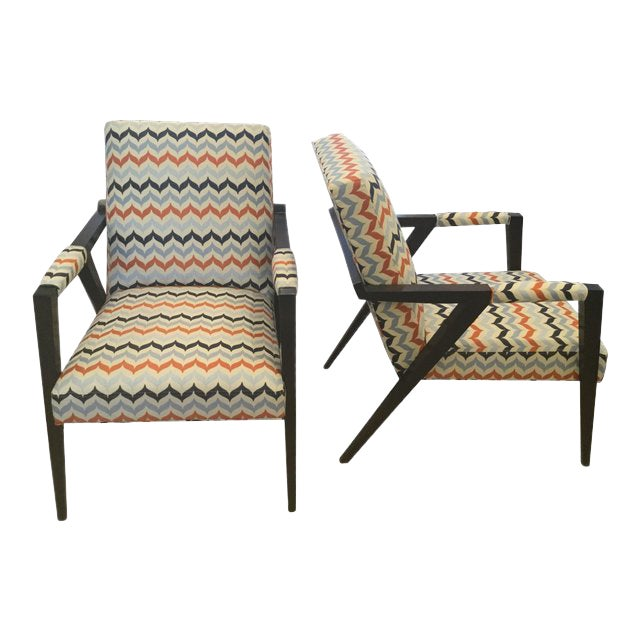 Kravet Mid-Century Modern Tempest Chairs - a Pair For Sale