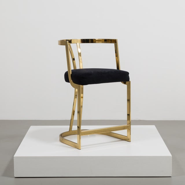 Mid-Century Modern A Counter Height Brass Framed Upholstered Chair 1980s For Sale - Image 3 of 8