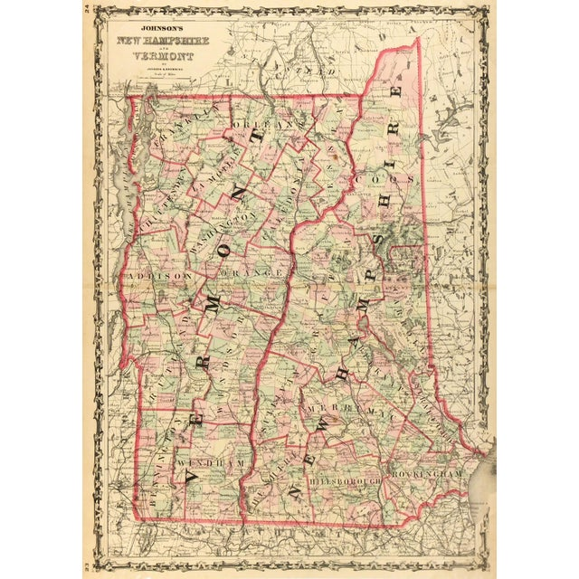 Antique Map of New Hampshire & Vermont, 1861 For Sale - Image 4 of 4
