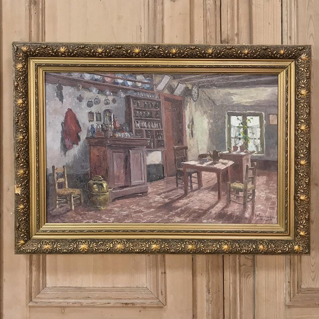 Antique Framed Oil Painting on Canvas by Victor Waegemaeckers For Sale - Image 4 of 12