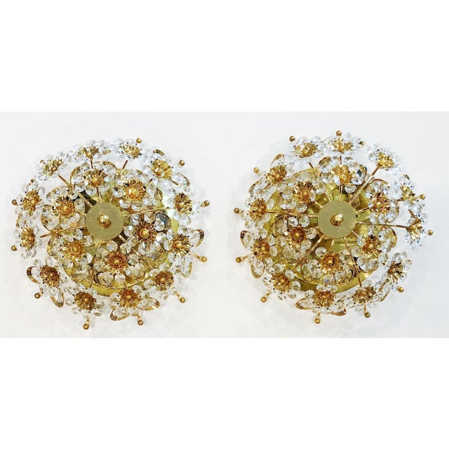 1970s Cut Crystal Gilt Brass Flush Mount Ceiling Fixtures by Palwa - a Pair For Sale - Image 11 of 11