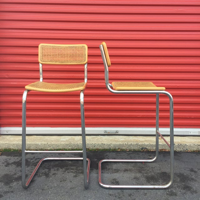 Mid-Century Cane Cesca Bar Stools With Chrome by Marcel Breuer - A Pair - Image 4 of 8