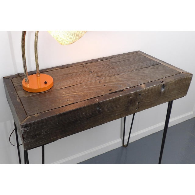 Industrial Reclaimed Fingered Redwood Hairpin Legs Sofa Table For Sale - Image 3 of 11