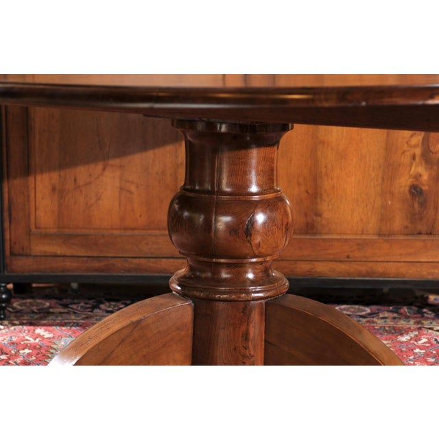 Italian Round Walnut Pedestal Dining Table with Tilt-Top and Bronze Accents For Sale - Image 4 of 10