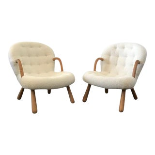 "Philip Arctander Style ""Clam"" Armchairs Boucle Fabric For Sale"