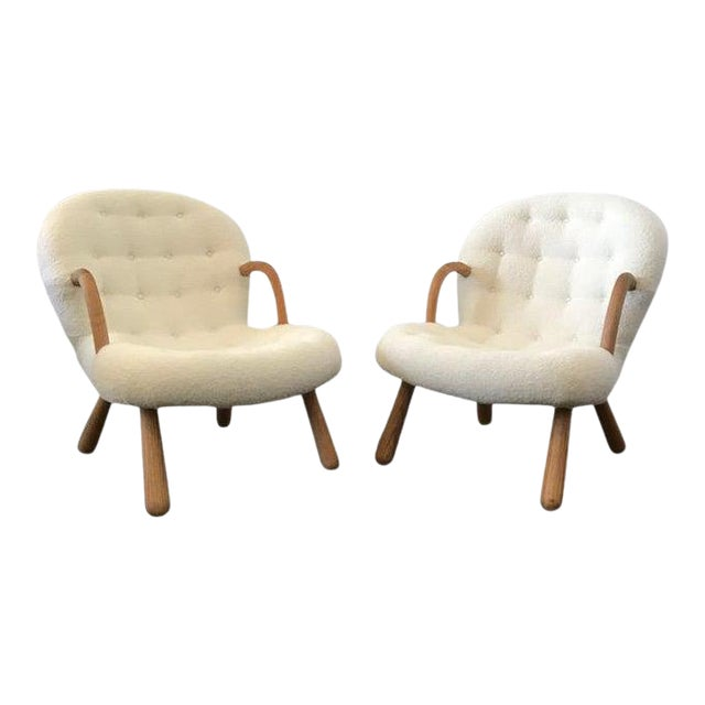 """Philip Arctander Style """"Clam"""" Armchairs Boucle Fabric For Sale"""
