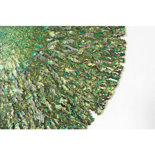 Green and gold iron seaweed wall sculpture designed by Fabio Bergomi for Fabio Ltd Diameter: 47 inches / Depth: 6 inches...