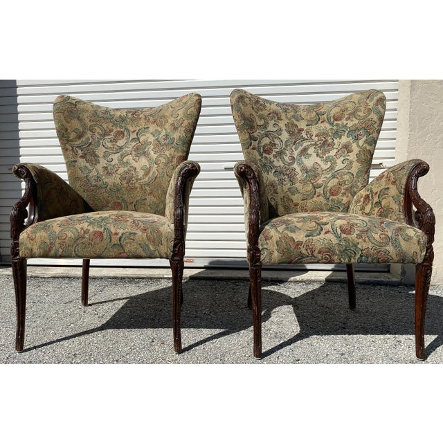 Pair of wing back carved wood accent chairs upholstered. Pair Hollywood Regency Wingback Grosfeld House Style Lounge Arm...