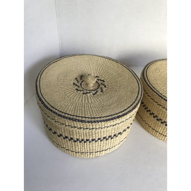 Asian 1960s Vintage Woven Nesting Baskets - Set of 4 For Sale - Image 3 of 5