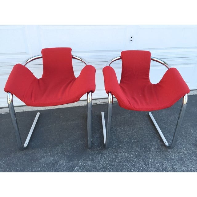 Burke Vecta Vintage Zermatt Chrome Sling Chairs - A Pair For Sale - Image 4 of 7