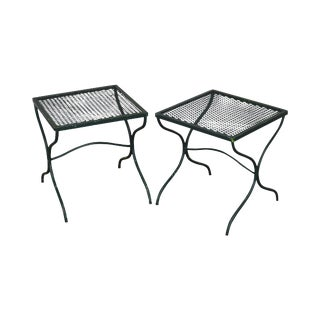 Salterini Vintage Expanded Metal Wrought Iron Pair X-Base Patio Side Tables For Sale