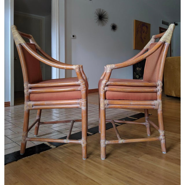 1970s Vintage McGuire Rattan Armchairs- Set of 4 For Sale In Dallas - Image 6 of 12