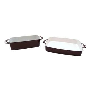 2 Dansk Ihq Jens Quistaard Kobenstyle Brown Casserole & Loaf Pans For Sale