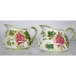 Vintage Portuguese Hand Painted Floral Pink Pitchers - a Pair Preview