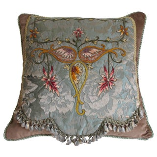 Embroidered Damask Pillow by Mary Jane McCarty For Sale
