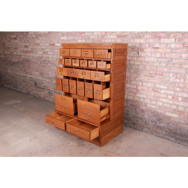 Early 20th Century Antique Oak 24-Drawer Card Catalog File Cabinet, Circa 1920s For Sale - Image 5 of 13
