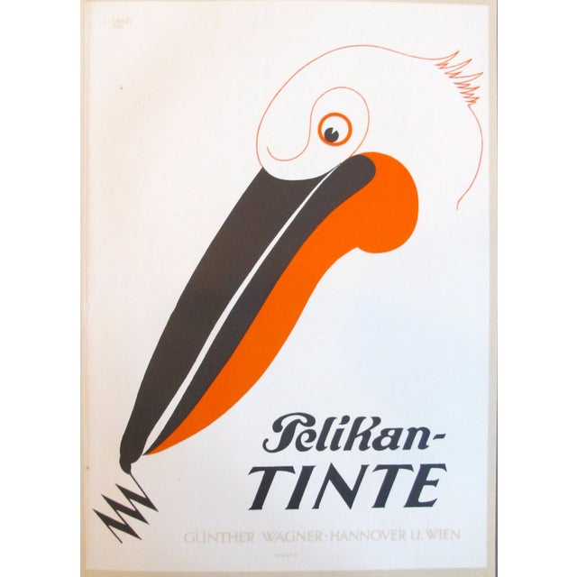 Original 1927 Lithographic Pelican Poster - Image 1 of 3