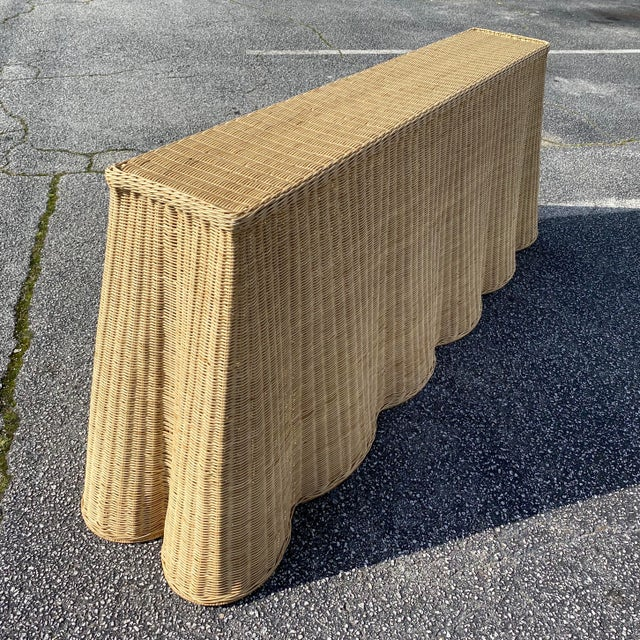 "French Natural Rattan Console Table 79"" Long For Sale - Image 3 of 10"
