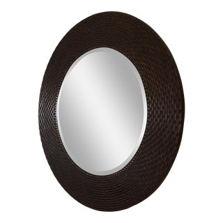 Contemporary Beveled Edged Round Wall Mirror