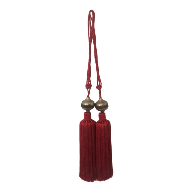 Moroccan Red Silk Tassel With Metal Embossed - A Pair For Sale