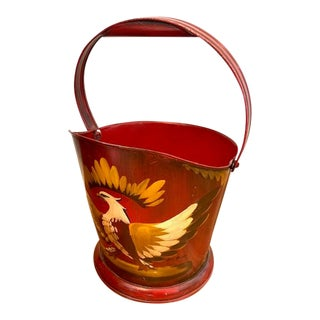 Vintage Tole Hand Painted Bucket Coal Shuttle With Eagle For Sale