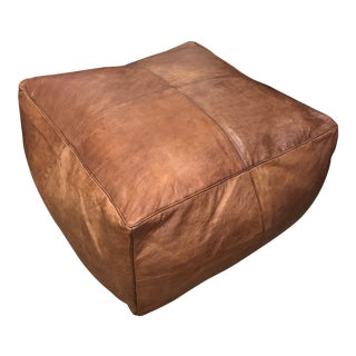 Large Square Hand-Stitched Leather Pouf For Sale
