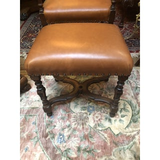 Antique 1910s Victorian Style Barley Twist Wood Framed Armchair and Ottoman Newly Upholstered Preview