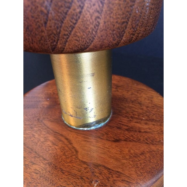 Man Cave table lamp of polished walnut and turned brass accents. Wear commensurate with age which adds to the manly vibe.