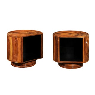 Chic Restored Pair of Swivel Bamboo and Black Lacquer End Tables, Circa 1975 For Sale