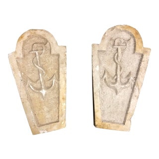 Pair of Decorative Anchor Tombstones For Sale