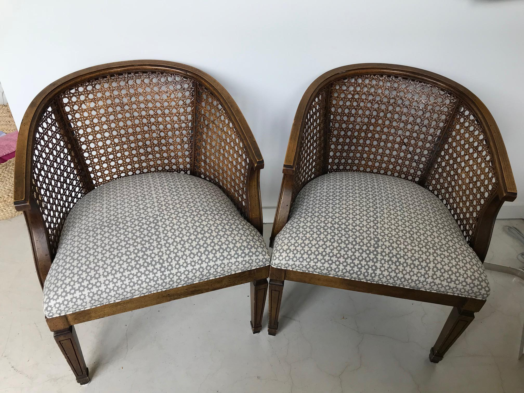 1950s 1950s Mid Century Modern Barrel Back Cane Club Chairs   A Pair For  Sale