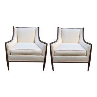 Pair of Walnut and Linen Upholstered Lounge Chairs For Sale