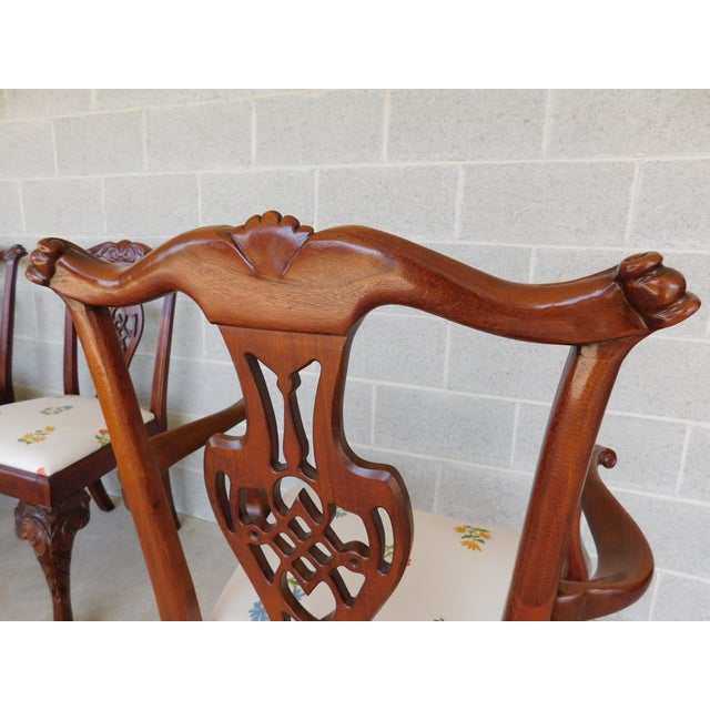 Quality Chippendale Style Mahogany Ball & Claw Foot Side Chairs - Set of 6 For Sale - Image 10 of 13