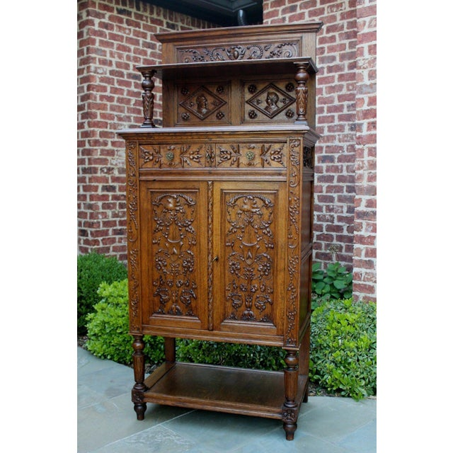 Antique French Oak 19th Century Renaissance Revival Gothic Vestry Sacristy Wine Altar Cabinet Bookcase For Sale - Image 4 of 13