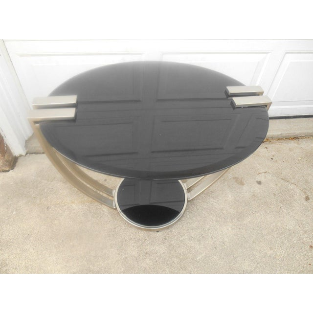 Oval Black Glass & Metal Art Deco Style End Table - Image 4 of 6