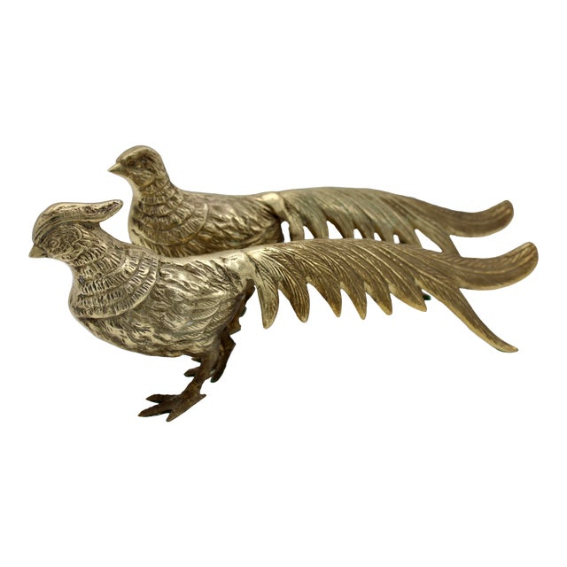 Mid 20th Century Brass Pheasants - a Pair For Sale
