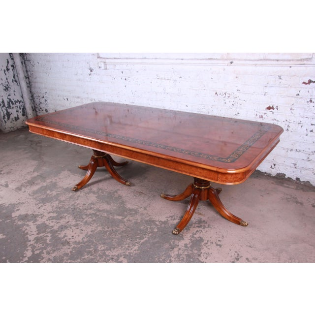 Outstanding 13 Foot Burled and Inlaid Regency Style Extension Dining Table For Sale - Image 13 of 13