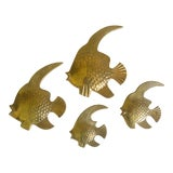 Image of Vintage Mid Century Cast Brass Angelfish Sculpture Wall Hanging Art - Set of 4 For Sale