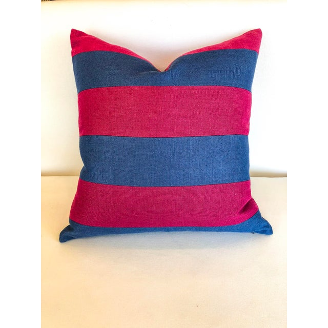 A great pair of bright maroon and navy striped pillows. These are the perfect way to add a fun pop of color to any living...