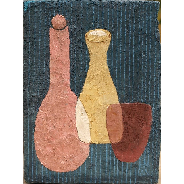 """Blue Enni Contemporary Mixed Media Still Life """"Yellow Wine"""" For Sale - Image 8 of 8"""