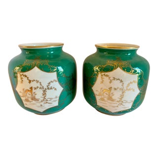 Pair of Schwarzenhammer Germany Porcelain Urns Pots For Sale