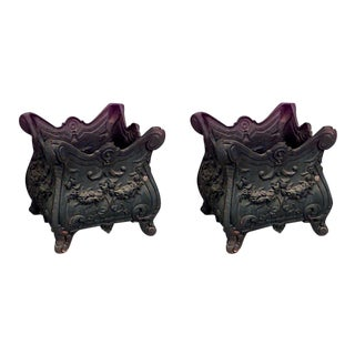 French Victorian Iron Pots - a Pair For Sale