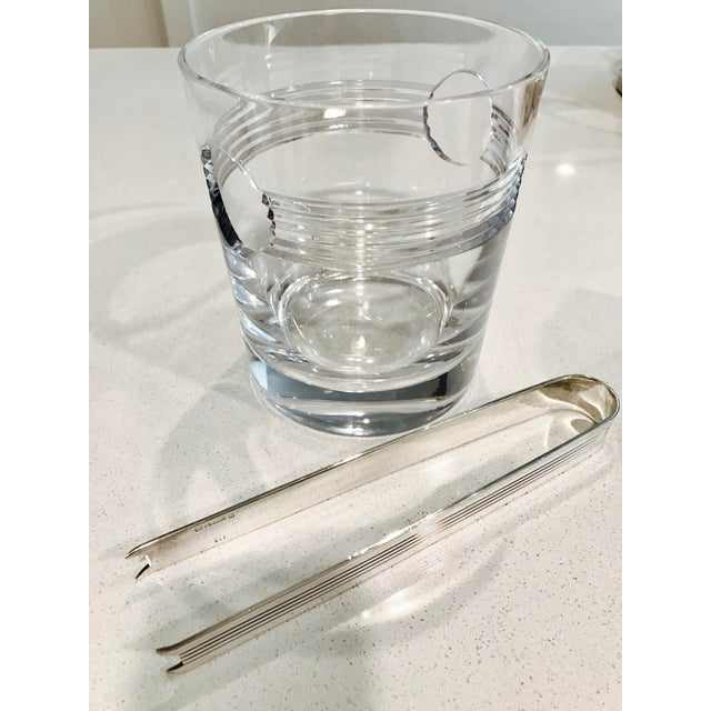"Christofle ""Atalante"" Crystal Ice Bucket & Silverplated Ice Tongs - Image 7 of 8"