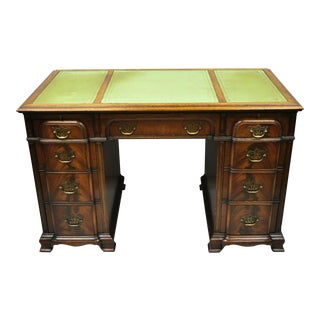 20th Century Chippendale Crotch Mahogany Block Front Green Leather Top Knee Hole Partner Desk For Sale