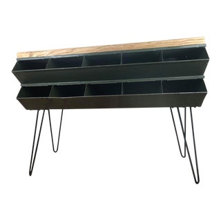 Industrial Rustic Metal Console With Butcher Block Top & Cubbies - Reclaimed Materials - Handmade For Sale