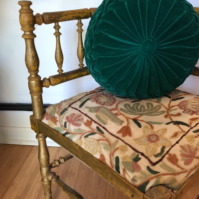 Antique Embroidered Corner Accent Chair For Sale - Image 5 of 11